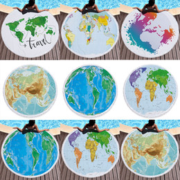 Discount cloth maps World Map Printed Large Round Beach Towel Microfiber With Tassels Thick Terry Cloth Large Beach Towels Serviette De Plag