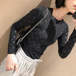 slim fit tight t shirt 2020 - Trendy Brand Luxry Design Moon Black Bottoming Shirt Tight Elastic Slim Fit with Long Sleeves Crescent Moon Women T-shir
