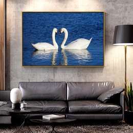animal swan paintings NZ - Artcozy Two Swans Facing Each Other Oil Canvas Painting for Home Decoration Wall Art Canvas Printings Spray Painting Animal