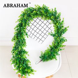 plastic green vines Canada - 150cm Plastic Rattan Artificial Eucalyptus Leaf Vine Wall Hanging Fake Plants Green long Ivy Wedding Leaves For Home Party Decor