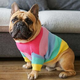 clothes pugs UK - Rainbow Dog Clothes Winter Pet Sweater Fat Dog Costume French Bulldog Pets Clothing For Medium Large Dogs Coat Pet Overalls Pug T200710
