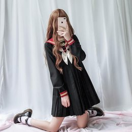 costume cosplay skirt red Canada - SO CUTE Girl uiform lolita dress pleated skirt women cosplay student costumes