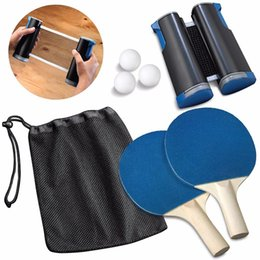 paddle tennis UK - Portable Table Tennis Set Telescopic Net Rack 1 Pair Table Tennis Paddle Pingpong Training Accessories Retractable Ping Pong Post Net Rack