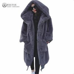 Wholesale plus size faux fur capes resale online - Winter Woman Coat Teddy Jacket Faux Fur Outerwear Hair Thick Long Plush Coat plus size loose Ponchos Capes OKD6001