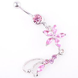color stone buttons UK - D0137-3 ( 3 colors ) Nice style Navel belly ring 10 pcs PINK color piercing body jewelry stone drop shipping