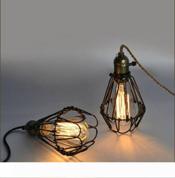 filament pendants NZ - American Style Pendant Lamp With Bulbs E26 4W 6W 8W ST64 Filament Light Bird Cage Decoration Cord Pendant European Restaurant Light