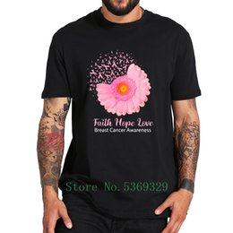 breast cancer tee shirts 2020 - Faith Hope Love Breast Cancer Awareness T Shirt - Flower Pink Tshirt 100% Cotton High Quality Crew Neck Soft Tee Tops