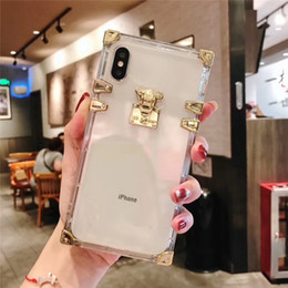 wholesale card shows UK - Suitable for iphone xs max mobile phone shell XR big-name designer transparent 7 8 tide brand square 11 lock head show