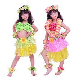 wholesale hula 2020 - Children Performance Costume Thicken Double Colors Child Hula Dance Perform Dress Festival School Floor Show Clothes Fas