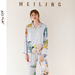 sea bell UK - Autumn 2019 Satin Long Sleeve Casual Pajamas for Women Sea Mystery Stripe Printing Sleepwear Viscose Sexy Sleep Home Clothes Y200708