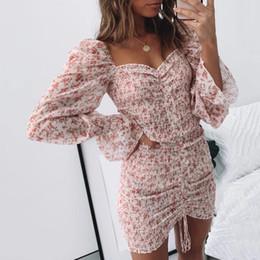 Wholesale floral shirred for sale – plus size sexy floral print shirred dress women square neck long sleeve slim mini dress chiffon dress
