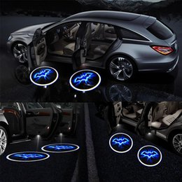wireless car accessories Canada - 2pcs Projector Car Accessory Wireless LED Bat Logo Door Light ABS Universal Fit Black Car Interior Light Accessories Ornaments