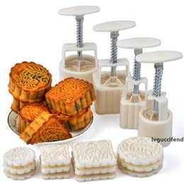 moon mold UK - 16Pcs set Flower Mooncake Mold DIY Hand Pressure Fondant Moon Cake Biscuits Moulds Mid-autumn Festival Baking Tools