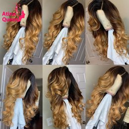 front lace wig ponytail UK - Deep Part 13x6 Preplucked Baby Hair Color Lace Front Human Hair Wigs Ombre Honey Blonde Remy Wavy Wig Can Be Ponytail For Women