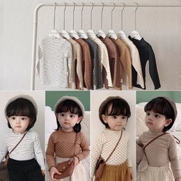 Discount new girls t shirt Korean INS New Style Girls Fall Stripes T-Shirt Long Sleeve Winter Blank Pure Cotton Polka Dot Fashion Girls Top Tees