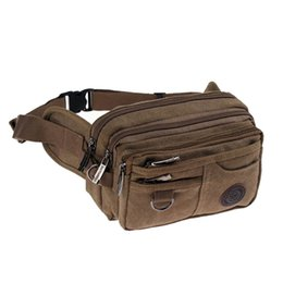 travel pillow free shipping NZ - High Quality Casual Canvas Waist Packs Purse Men Bag Portable Vintage Men And Women Waist Bags Travel Belt Wallets Free Shipping