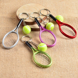 tennis rackets wholesale UK - 12pcs Assorted Cute Tennis Racket with Ball Key Chains Thank You Gifts Party Favors Event Souvenirs for Guests Game Prize jgO2#