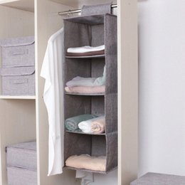 bamboo clothes storage UK - 1pc Cotton And Linen Multilayer Wardrobe Storage Hanging Bag Storage Rack Bedroom Clothes Shoe Box 7Umz#