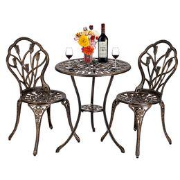 Wholesale WACO Patio Bistro Table Set, set of 3 Tulip Cast Aluminum Table Chairs Rust Resistant European Style, Outdoor Garden Furniture Set Bronze