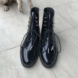 italian leather shoes women NZ - Hot Sale- New Italian Style Women Boots Genuine Leather Round Toe Women Motorcycle Boots Lace Up Shoes Women Zapatos Mujer