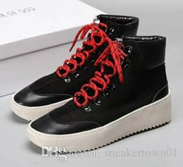 free cowboy boots UK - free shipping 2019 fear of god shoes Sneaker with Canvas Insets fog Boots platform Men fashion leather shoes size 38-46