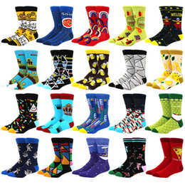 Wholesale hip socks for men online – funny New Mens sock Brand Diamond Ramen Astronaut Pattern Hip hop Cool Socks for Men Winter Thick Long Skate Funny Socks Colorful