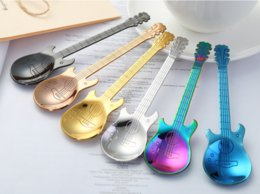 guitar handle NZ - Guitar Shape Spoon 304 Stainless Steel Handle Spoon Cutlery Coffee Drink Tool Kitchen Stirring Spoon 6 Colors