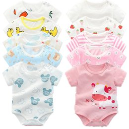 Discount one piece spring suit kids 0-24 M Infant Baby Clothing Toddler Girls Summer Short Sleeve Climbing Suit Newborn Bodysuits Infant Kids Boy One Piece