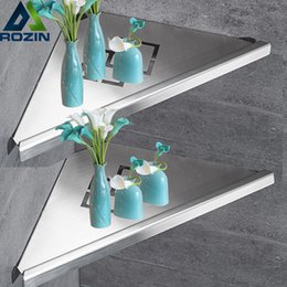 corner bathroom showers UK - Bathroom Kitchen Storage Shelf Wall Mounted Stainless Steel Shower Caddy Rack Brushed Nickel Black Commodity Holder T200730