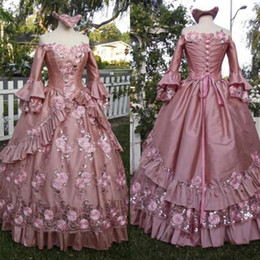 Wholesale fantasy sexy dress resale online - Fantasy Princess Gothic Quinceanera Dresses with Long Sleeves Off Shoulder Lace Floral Hallowmas Prom Party Gown plus size robes