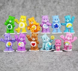 japanese mini figures Canada - Rainbow Heart Bears Japanese Style Kids Toys Anime Mini Action Figure Toy Children Toys For Boys Girls Gift 12pcs  Lot Wholesale