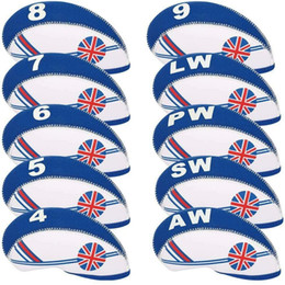 10pcs set UK Flag Patterned Neoprene Golf Club Wedge Iron Head covers cover set Headcovers Protect Case For Irons 2 Colours to Choose