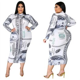 Wholesale ladies plus size linen clothing online – L XL Women Long Dress Dollars Print Long Sleeve Dresses Fashion High collared One piece Skirt Bodycon Autumn Dress Ladies Outfits Clothes