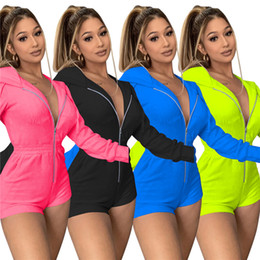 Casual-Herbst-Frauen Jumpsuits Fashion Solid Color Langarm-Kapuzen Zip Hoodies Shorts Bodysuits Womens Designer-Kleidung