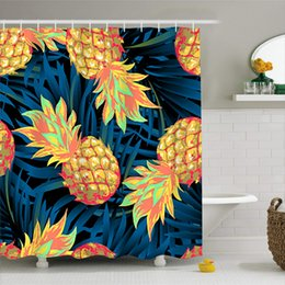 curtain painting UK - 180x180cm Yellow Fruit Hanging Curtain Waterproof Mold Proof Polyester Shower Curtain for Home Pineapple Orange Banana Painting