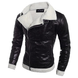 Wholesale coats jackets wools korean men for sale - Group buy Men Leather Jacket Winter Coat for Winter Stylish Men s Leather Jackets Male Zipper Moto Jacket Korean Style
