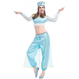 cosplay costume aladdin NZ - Arabian dancer Jasmine Aladdin magic clothing lamp split belly dance performance costume Halloween cosplay costume sXg38