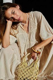 Wholesale boho style dresses for women resale online – INSPIRED Women s embroidery V neck cotton BOHO Tiered long summer casual loose fit Dress for women Y200805