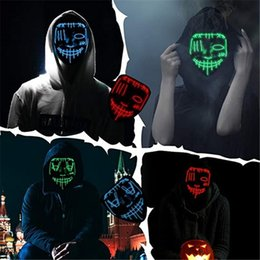 up film großhandel-Halloween LED Maske EL Draht DJ Party Light Up Glow In Dark Film Festival Partei Cosplay Payday Masken OO9025