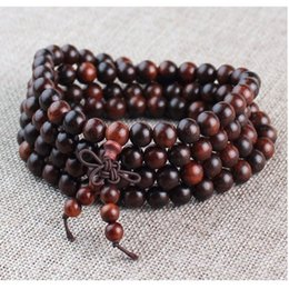 red sandalwood bracelets Canada - Open red beads sandalwood Buddha beads 10mm108 bracelet bracelet red sandalwood