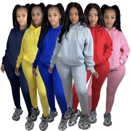 Wholesale high collar hoodie women for sale – custom Women Solid Color Tracksuit Two Piece Set Long Sleeve Sweatsuit Jogging Sportsuit Hoodie Outfits Ladies Autumn And Winter Sportswear Clothes
