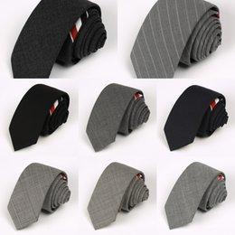 Kore tarzı tb Yün üç renkli şerit 5 cm İngiliz ince dar gri yün kravat erkekler için tören giysileri iş siyah