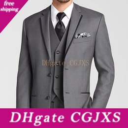 three piece suit for man style NZ - Three Piece Gray Wedding Tuxedos For Groom Wear Classic Style Two Button Business Prom Men Suits Custom Made Jacket Pants Vest