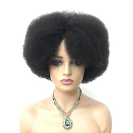 color bob wigs UK - Short Bob Afro Kinky Curly Full Machine Made Human Hair Wigs For Women Free Shipping Brazilian Remy Hair Wig