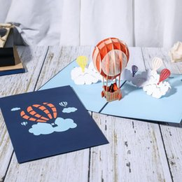 card balloons NZ - 10PCS 3D DIY Hot Air Balloon Greeting Cards Love Couple Paper Invitation Card Valentine's Day Grandma Grandpa Anniversary LA297