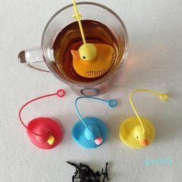tea coffe UK - Duck Tea Filter Strainers Silicone Cute Special Designed Duck shape style Filter Loose Leaf Coffe Tea Strainers IIA27