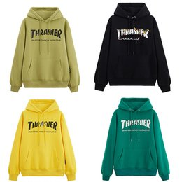 Wholesale fleece tops men online – oversize NEW THRASHER Hoodies Sweatshirts mens Couple men Top M XL Solid Color Coats Hooded Sweater Jacket Fashion Hip Hop womens Long sleeve