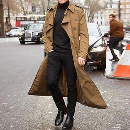Wholesale mens overcoat streetwear resale online – New Khaki Trench Coat Men Fashion Jacket Mens Overcoat Casual Long Coat Men British Style Men s Trench Overcoat Streetwear