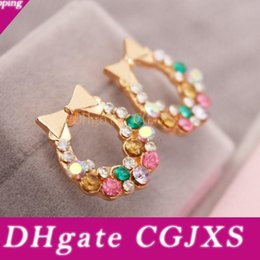 plates jewelry manufacturer UK - Colorful Crytstal Rhinestone Bow Earring Stud Jewelry Manufacturers Bow -Knot Earring Stud Wholesale Free Shipping