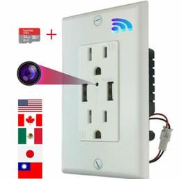 Socket Micro Monitor Hidden Nanny Cámara WiFi CA Cuenca de pared con tarjeta de memoria 32 g para la visualización remota en venta
